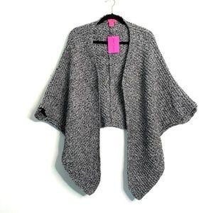 Betsey Johnson One Size Black Knit Shawl Sweater